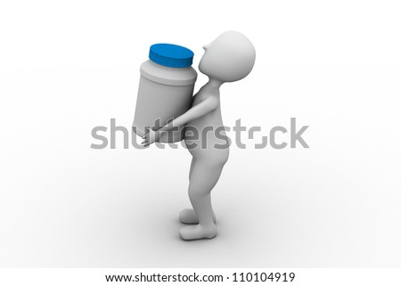 man carry bottle for tablets