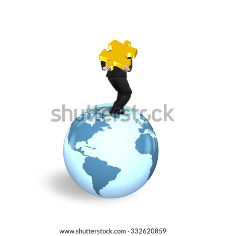 Man carrying gold jigsaw puzzle standing on globe with world map, isolated on white background. - stock photo