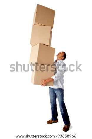 Man carrying heavy carboard boxes - isolated over a white background - stock photo