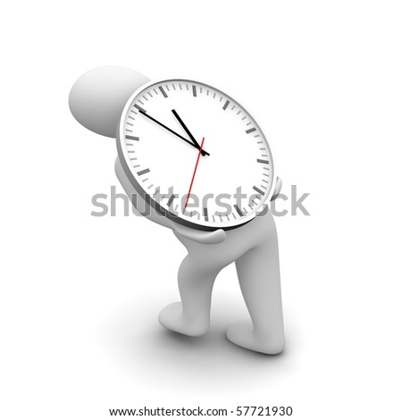 Man carrying heavy clock. 3d rendered illustration. - stock photo
