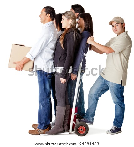 Man carrying people in a trolley for a delivery chain - isolated over a white background - stock photo