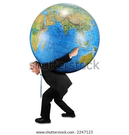 Man carrying world on his back - stock photo