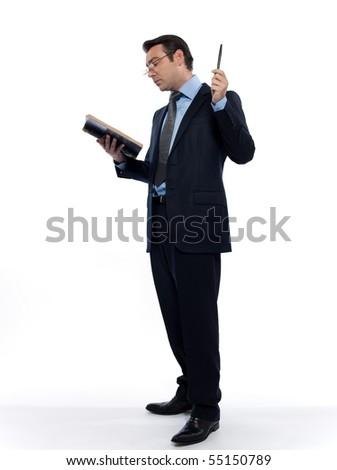 man caucasian professor historian teaching reading old book isolated studio on white background - stock photo