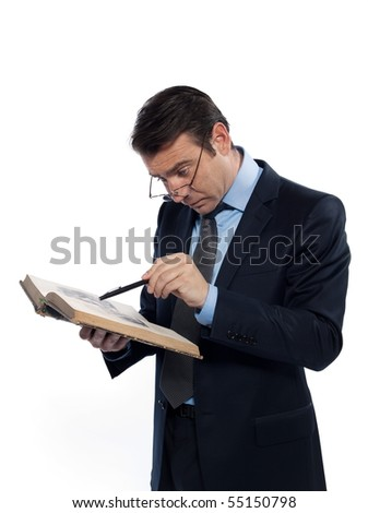 man caucasian professor studying isolated studio on white background