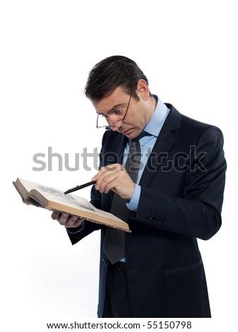 man caucasian professor studying isolated studio on white background - stock photo