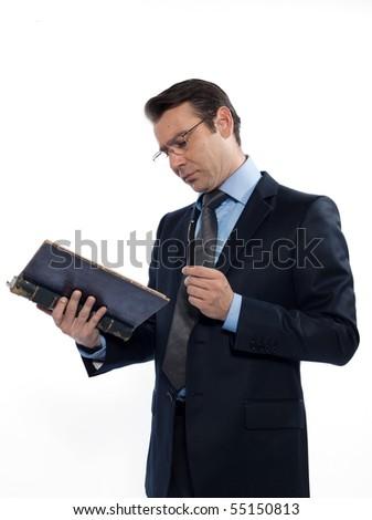 man caucasian professor teacher reading old book isolated studio on white background - stock photo