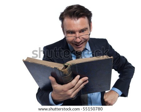 man caucasian professor teaching cheerful isolated studio on white background - stock photo