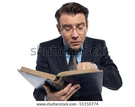 man caucasian teacher historian reading old book isolated studio on white background - stock photo