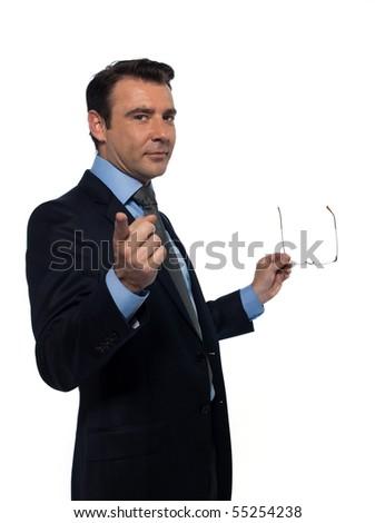 man caucasian teacher professor pointing at you isolated studio on white background - stock photo
