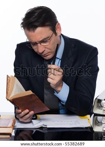 man caucasian teacher professor teaching isolated studio on white background - stock photo