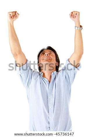 Man celebrating his success isolated over a white background