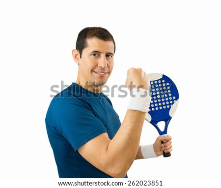 man celebrating victory on the paddle tennis with white background - stock photo