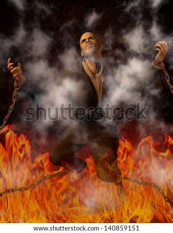 Man Chained in Hell - stock photo