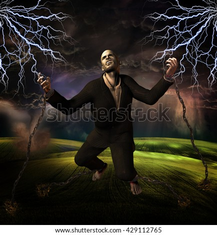 man chained to ground with storm in background 3D Render - stock photo