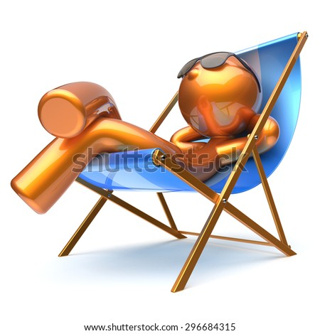 Man character beach deck chair relaxing carefree sunglasses summer comfort stylized golden chilling cartoon person sun lounger chaise lounge tourist sunbathing rest vacation icon 3d render isolated - stock photo