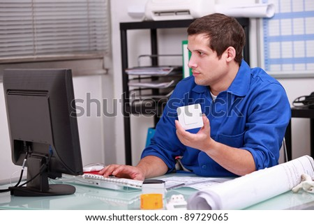 Man checking stock - stock photo