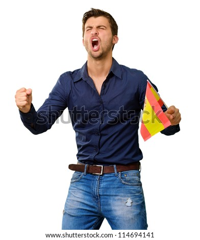 Man cheering and holding flag on white background