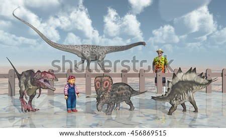 Man, child and dinosaurs in the petting zoo Computer generated 3D illustration
