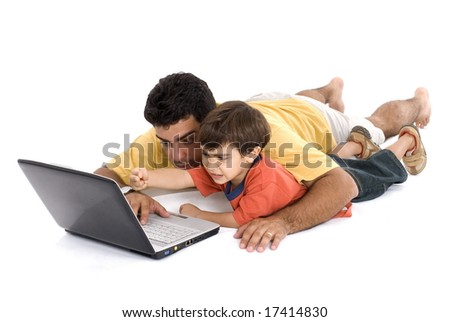 Man Child and the laptop on white background . - stock photo
