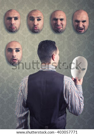 Man choosing a mask