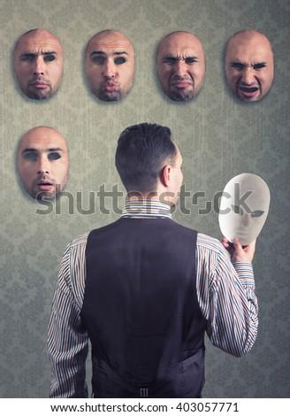 Man choosing a mask - stock photo