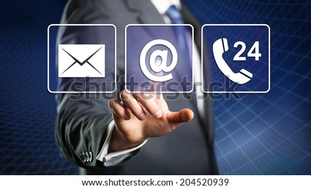 man choosing mail as a contact method - stock photo