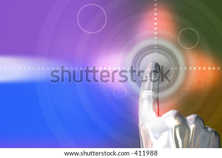 Man clicking on the button. 3D Abstraction digital design. - stock photo