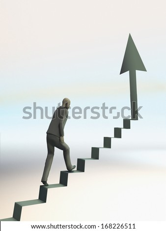 man climb up stair towards arrow pointing to the top