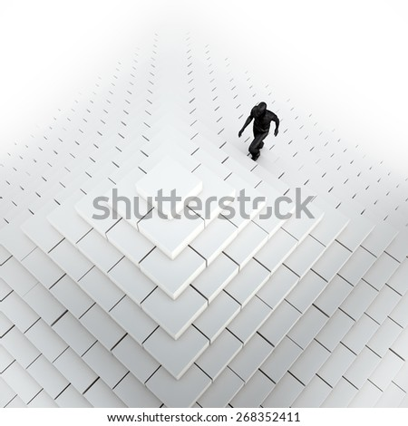 Man climbing an abstract pyramid - stock photo