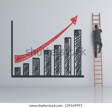 man climbing on ladder and chart - stock photo