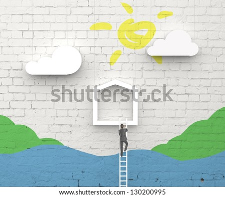 man climbing on ladder in abstract house - stock photo