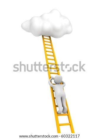 Man climbing to the cloud. 3d rendered illustration. - stock photo