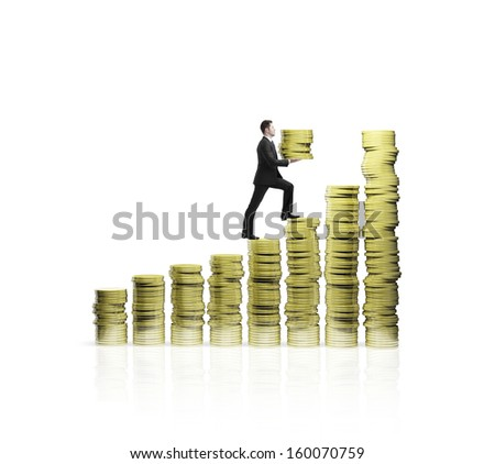 man climbing up  on chart of gold coins