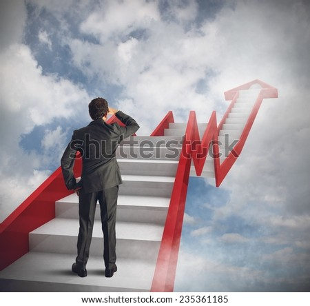 Man climbs stairs of a sky statistic - stock photo
