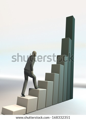 man climbs up on financial diagram. success in business