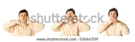 Man closing his ears, eyes and mouth in turn - stock photo