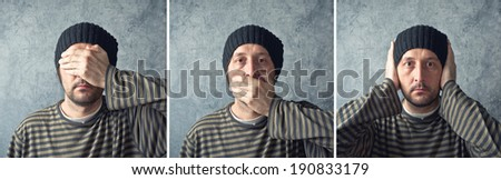Man closing his eyes, mouth and ears as three buddhist monkeys. See no evil, speak no evil, hear no evil triptych. - stock photo