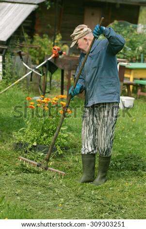 man collects grass rake - stock photo