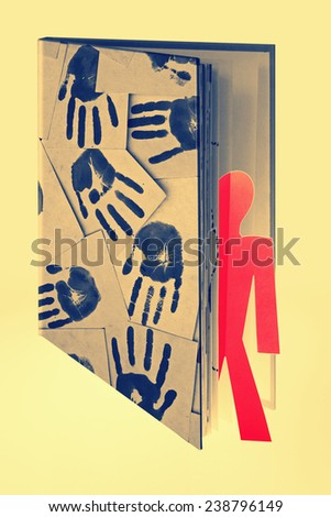 man coming out of book, Concept - stock photo