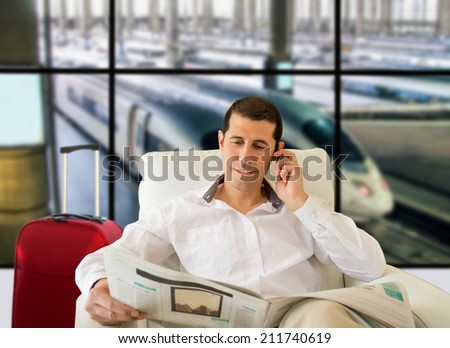 man commenting economy news inside the vip room - stock photo
