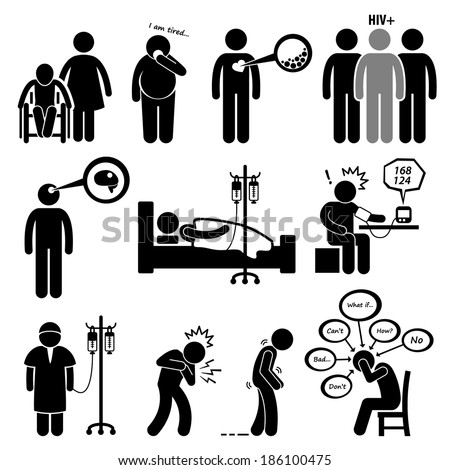 Man Common Diseases and Illness Stick Figure Pictogram Icon Cliparts - stock photo
