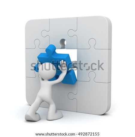 man completing the puzzle  3d illustration