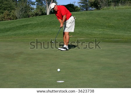 Man concentrating on making putt on green, focus on golfer - stock photo