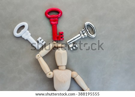 man confuse with many keys business solution concept