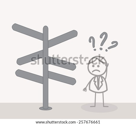 man Confused Direction - stock photo