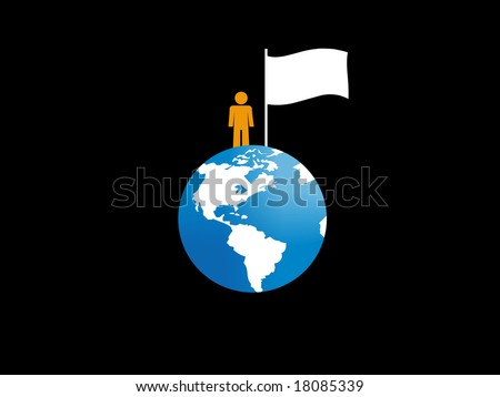 Man conquering the earth. - stock photo