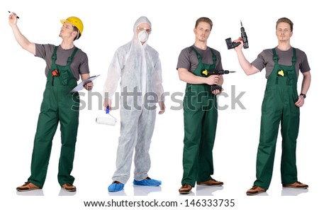 Man construction worker and painter. Isolated on white background. - stock photo