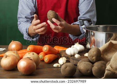 Man cooking - stock photo