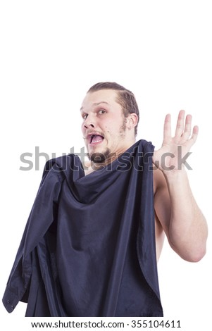 man covering his body with a shirt