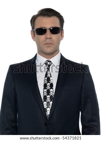 man criminal expressive pirate caucasian in studio isolated on white background - stock photo